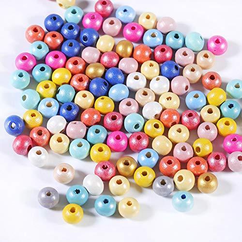 Perline di legno rotonde colorate, 100pcs 8mm perline di legno naturale per artigianato fai da te
