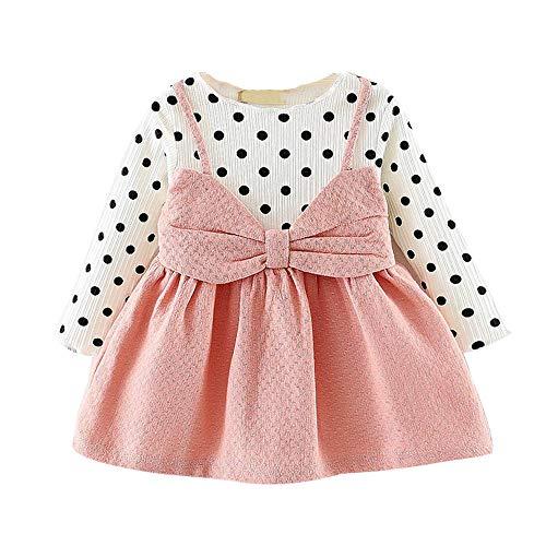LANSKIRT Ropa de Recién Nacido Infantil bebé niñas Vestido Estampado de Flores del Arco Princesa Vestido de Manga Larga Otoño e Invierno Jumpsuit (1_Rosado, 0-6 Mes)