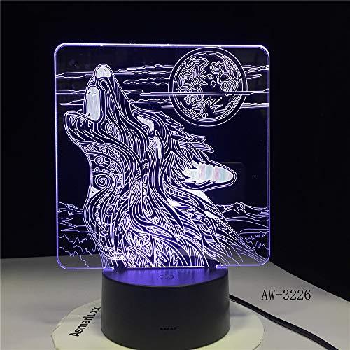 Vollmond Nacht Wolf Acryl Nachtlicht Touch Control Home Kinder Tischlampe Kind Geschenk Lieferung