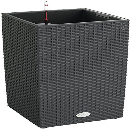 Lechuza Cube Cottage 40 Vaso in Resina per Piante Set Completo - Granito