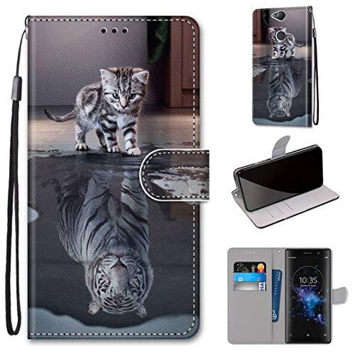 Sony Xperia XA2 Plus Hülle, SATURCASE Schön PU Lederhülle Magnetverschluss Brieftasche Kartenfächer Standfunktion Handschlaufe Handy Tasche Schutzhülle Handyhülle Hülle für Sony Xperia XA2 Plus (DK-5)