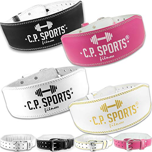C.P. Sports Gewichthebergürtel Leder, Gewichtheben Fitnessgürtel, Trainingsgürtel für den Kraftsport mit hohen Gewichten (Weiß, S = 64-79 cm)