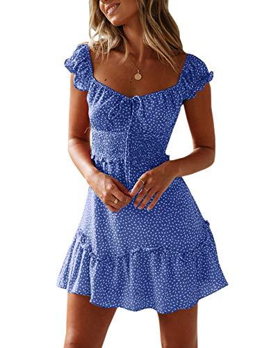 Ybenlover Damen Blumen Sommerkleid High Waist Volant Kleid Vintage Minikleid Strandkleid, Blau, M