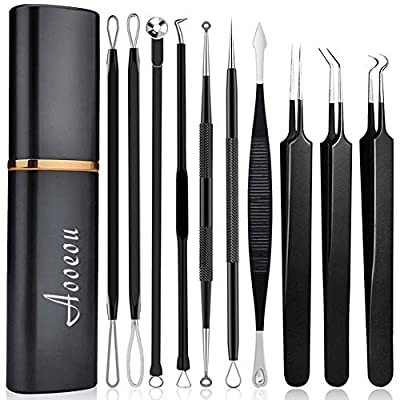 Aooeou Pimple Popper Tool Kit 10 Pieces Professional Pimple Comedone Extractor Tool Acne Removal Kit -Treatment for Pimples, Blackheads, Blemishes, Zit Removal, Forehead and Nose from Aooeou