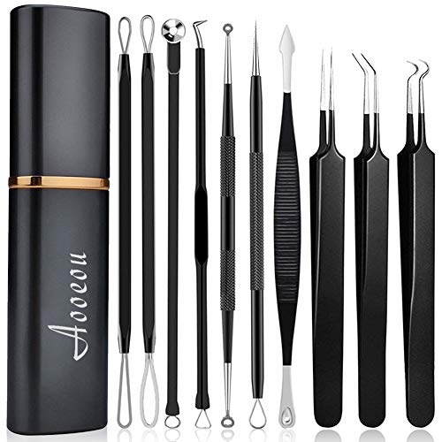 Pimple Popper Tool Kit, Aooeou 10 Pcs Professional Pimple Comedone Extractor Tool Acne Removal Kit -Treatment for Pimples, Blackheads, Blemish, Zit Removing, Forehead and Nose
