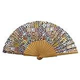 Designer Souvenirs - Abanico con diseño de Azulejos de Tela con Varillas de Madera | Estampado...