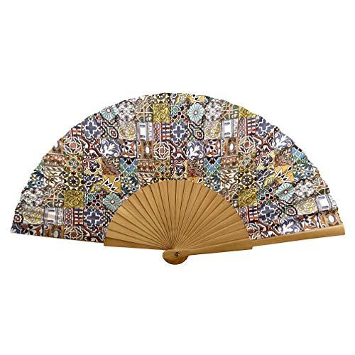 Designer Souvenirs - Abanico con diseño de Azulejos de Tela con Varillas...