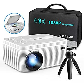 BIGASUO [2021 Upgrade] HD Bluetooth Projector Built in DVD Player Mini Video Projector 1080P Supported Compatible with TV/HDMI/VGA/AV/USB/TF SD Card Portable Outdoor Movie Projector