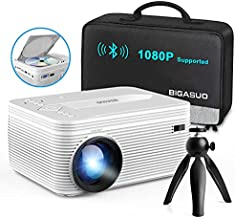 BIGASUO [2021 Upgrade] Bluetooth Full HD Projector Built in DVD Player, Portable Mini Projector Compatible with iPhone/iPad/TV/HDMI/VGA/AV/USB/TF SD Card, 720P Native 1080P Supported
