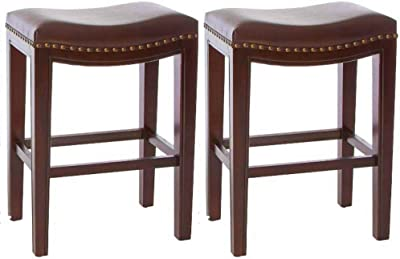 Amazon Com Jaeden Backless Faux Leather Bar Stools With