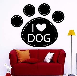 iofjs Dog Vinyl Wall Stickers I Love Dog Sticker Pet Shop Vinyl Grooming Salon Decor Perfect Quality Wallpaper Poster 56 69Cm
