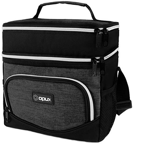 OPUX Insulated Dual Compartment Lunch Box for Men Women | Double Deck Leakproof Reusable Soft Lunch Bag Tote with Shoulder Strap for Work Office School Kid | Lunch Pail, Fits 12 Cans, Charcoal Gray