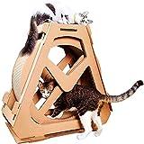 Tablero del rasguño del Gato Rueda de Ejercicio para Gatos Casa de Gato Ejecutando Juguete Giratorio, Movimiento de la Rueda de Gatos Centro de Actividades Interior Papel Corrugado,L