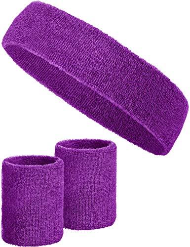 3-teiliges Schweißband-Set mit 2X Schweißbändern für die Handgelenke + 1x Stirnband für Damen & Herren (Lila)