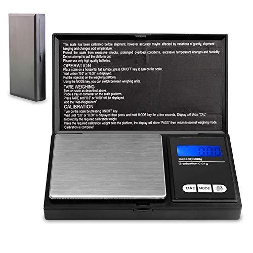 Lamker Báscula Digitales de Precisión 200 g / 0,01 g con Pantalla LCD y 7 Unidades Mini Portátiles Escala de Bolsillo Básculas Digitales de Cocina Bascula Gramos para Joyería Droga Cocinar