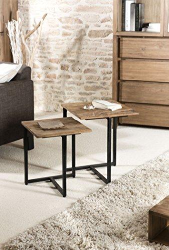 Macabane Table gigogne, Teck, Brun, 40 x 40 x 50 cm