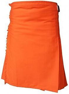 Orange Moden Tartan Style Utility Kilt For Men