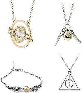 Harry Potter Halsketting, 4-delige set, met relieken van de dood, goudslang, turnketting, hanger, halsketting voor Harry P...