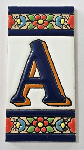 ARTESANÍA ROCA Letras y números de azulejo cerámico. Modelo Flor Azul. Medidas 11cm Altura x 5,5 cm Ancho Made IN Spain (A Letra)