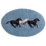 925940 - Applikation Patch Jeans blau mit Pferden