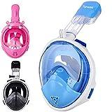 Tgnazet Full Face Snorkel Mask Kids, 180° Easy Breathe and GoPro Compatible...