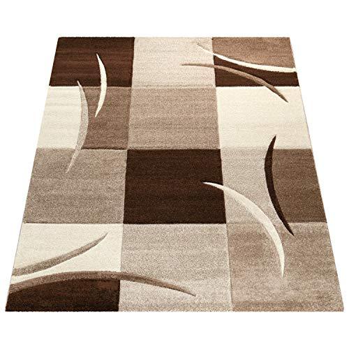 Amazon Brand - Umi Alfombra Salon Comedor Pasillo Dormitorio Pelo Corto 3D Cuadradas Diseño De Geometrica Triangulos Rombos Abstracto, Color:marrón, Tamaño:160x230 cm