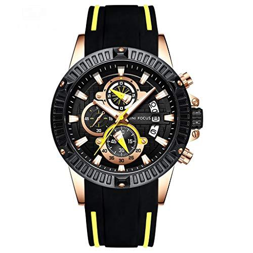 JM- Reloj, Reloj análogo Deportivo de Cuarzo para Hombres con Banda de Silicona, Reloj de Pulsera con cronógrafo Luminoso e Impermeable. (Color : B)