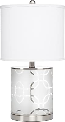 Kichler 70898 Birchfield 1LT Table Lamp, Etched Glass and Brushed Nickel with White Hardback Fabric Shade