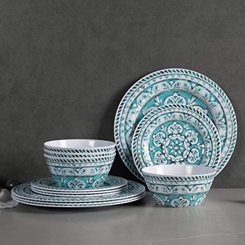 Melamine Dinnerware Set – 12pcs Dinnerware Dishes Set for Everyday Use, Dishwasher safe, Service for 4, Green
