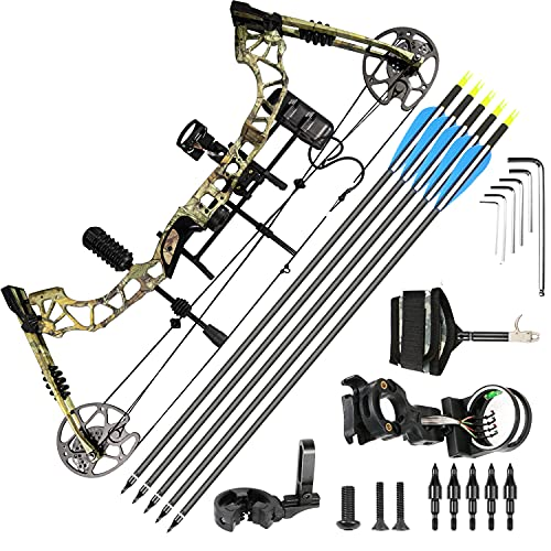 Archery Compound Bows Kit for Adults & Teens, Hunting Bowfishing Bow with Arrows 4 Pin Sight, Draw Length 16-31', 25-70 Lbs Draw Weight Adjustable, 320 FPS, Come with Archery Hunting Bow Accessories