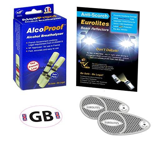 Passez la souris sur l'image pour zoomer Travel Products Eurolites Déviateurs pour phares Convertisseurs + 2 Français alcoproof éthylotests NF + Noir et Blanc de Go Sticker