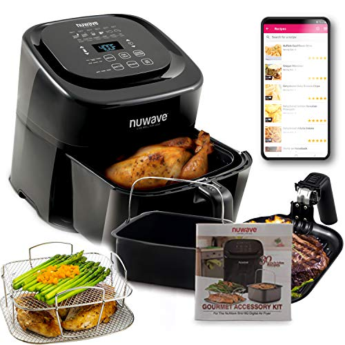 NuWave Brio 6-Quart Healthy Digital Air Fryer with One-Touch Digital Controls, Advanced Cooking Functions, Removable Divider Insert & Grill Plate (NEW ACCESSORY)