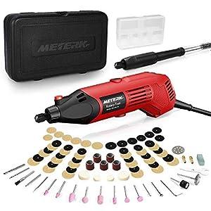 Mini Amoladora Eléctrica, Meterk Herramienta Rotativa, 160W 6Variable Velocidades, 8000-35000RPM, con Eje Flexible y 83Accesorios, Para Pulido/Amolado/Taladrado/Corte/Grabado