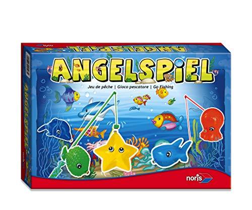 Noris 606049103 Angelspiel, spannendes Kinderspiel mit bunten Kunststoff Fisch-Figuren und 4 Angeln, ab 3 Jahren