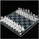 Conjunto de ajedrez de Vidrio con Piezas de ajedrez de Cristal fotografías de Fieltro, Estable tranquilizador el Presente, 3 tamaños (7.8 / 9.8 / 13.7inches) (Tamaño: Pequeño)