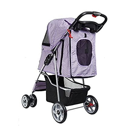 Flexzion Pet Stroller Dog Cat Small Animals Carrier Cage 4 Wheels Folding Flexible Easy Walk For Jogger Jogging Travel Up To 30 Pounds With Rain Cover Cup Holder And Mesh Window 1 Dot Purple 2