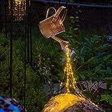 OFOCASE Star Shower Garden Art Light, Watering Can Fairy Lights with Bracket, Solar Energy Operated Waterproof Garden Ornaments Lights LED String Lights Sculpture (Warm Light +Telecontrol)