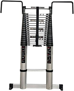 HLL Ladder,Step Ladder 2-6M Extension Tall Ladder with Hooks and Non-Slip Mat Professional Aluminum Telescoping Ladder Construction Outdoor Load 150Kg,7m/22.9ft