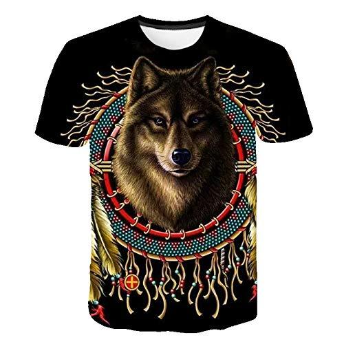 Sunofbeach Unisex 3D T-shirt grappige print casual korte mouwen T-shirts thee tops, Indiase dreamcatcher wolf