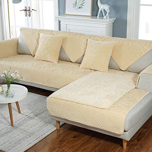 Hybad Sofa Protector,sofa saver,Plush sofa saver protector, moderne anti-slip bank cover voor Living Room, dikker Sofa Seat Cover,bank cover throw-beige_110*240cm