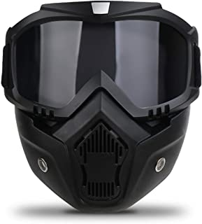 Motorcycle Goggles with Detachable Mask, Motocross Riding Cycling Motorbike ATV Dirt Bike Racing Off Road Cosplay Goggle G...