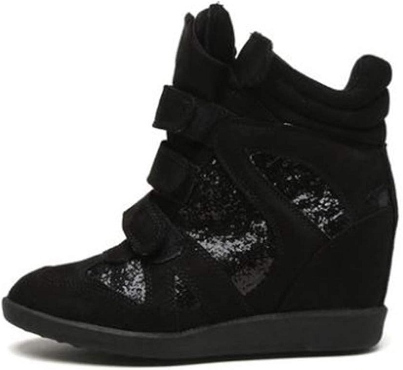 ASO-SLING Women's High Top Wedge Sneakers Hidden High Heel Casual shoes Hook&Loop Suede Fashion Sneakers