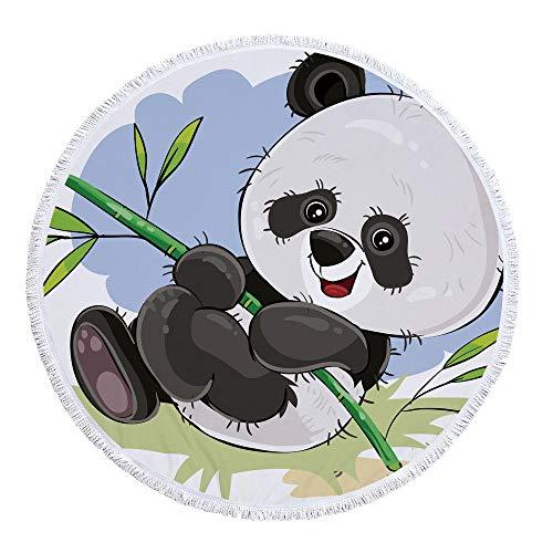 WSKMHK Ronda de Microfibra Toalla de Playa,cómic Animal Panda Juego Grande, rodeadas de Tejido Estampado y Estilo Bohemio Mandala Indio cojín Piscina Toalla Estera del Yoga psicodélico Hippie