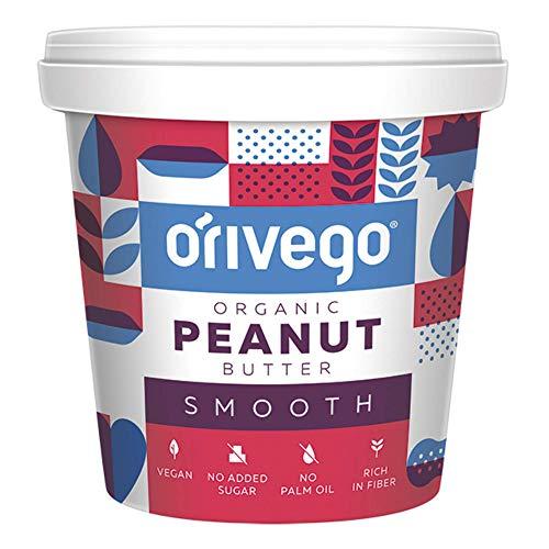 ORIVEGO Mantequilla de cacahuete cremosa y orgánica, 1kg – Crema de cacahuete 100% natural, vegana, sin azúcar y con certificación de producto orgánico
