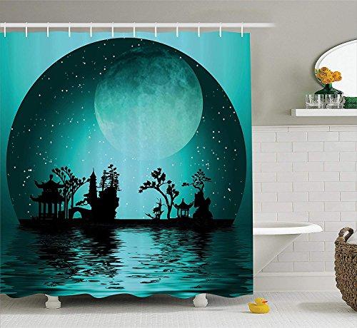 Nyngei Asian Decor Collection Asien Landschaft mit Mond Sternen Nachthimmel Urlaub Festival Künstlerisches Design Polyester Bad Duschvorhang 180CMe dunkle Petrol/Schwarz