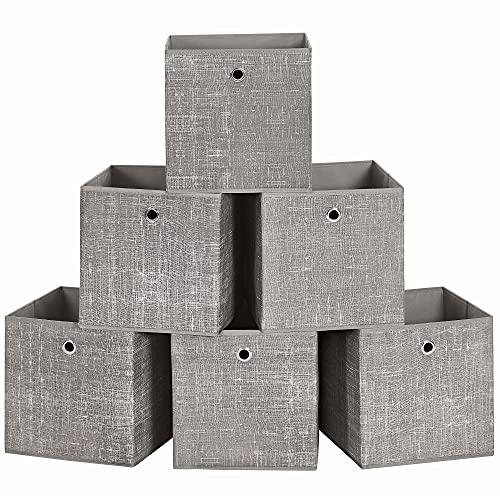 SONGMICS Cajas organizadoras Plegables, Cajas de Almacenamiento, Juego de 6, 30 x 30 x 30 cm, Tela, Organizadores de Ropa, Juguete Topo RFB006K01