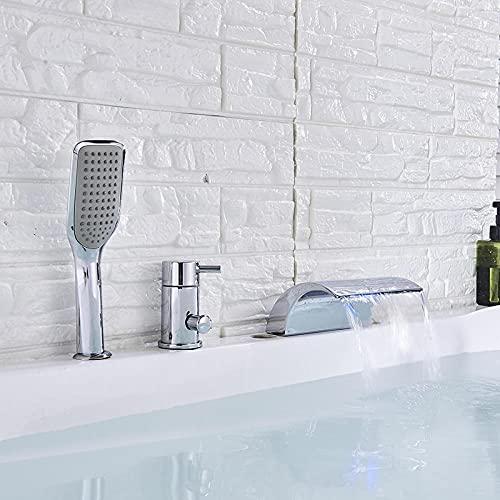 Grifo de bañera LED Cascada Ampliado Bañera Fregadero Grifos mezcladores Latón cromado Baño Grifo de ducha de baño con ducha de mano Caño alto