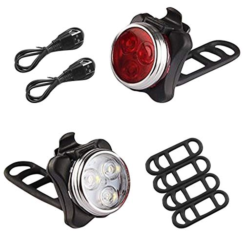 LED Fahrradlicht Set, huichang USB Wiederaufladbare Fahrradleuchte, Fahrradlampe Fahrradlicht, Rücklicht, Aufladbare Fahrradlichter mit 5 blinkenden Modi, 2 USB-Kabel (Rot & Weiß)