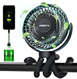 Portable Stroller Fan, Use As Power Bank, 55H 12000mAh Battery Operated Fan Flexible Tripod Baby Car Seat Fan, Personal Mini Handheld/Desk/Small Clip On Fans For Stroller, Carseat, Beach, Bed, Camping