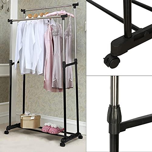 AllRight Wäscheständer Kleiderstange mit Rollen Höhenverstellbar Kleiderständer Rollgarderobe Garderobenständer 92-160cm
